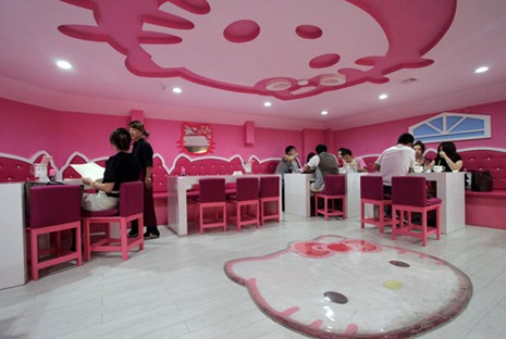 (CHINA OUT) A general view of a Hello Kitty themed restaurant is seen on May 17, 2012 in Xi'an, Shaanxi Province of China. (Photo by Ding Pin/ChinaFotoPress)***_***428045661